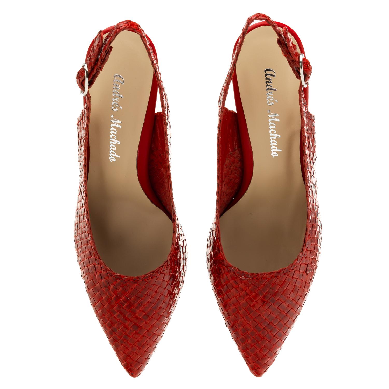 Sandale od pletene prirodne kože, crvene
