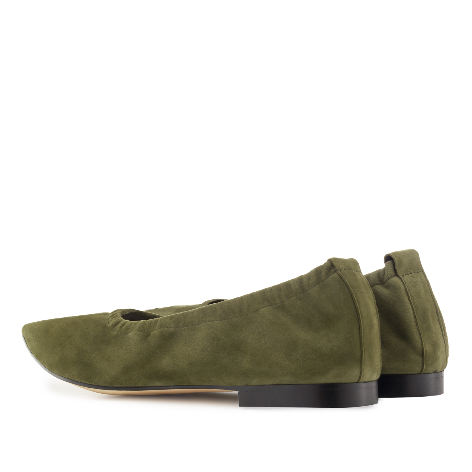 Elasticated Ballet Flats in Olive Green Suede Leather