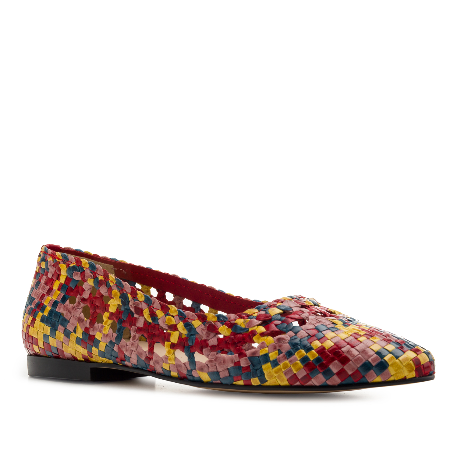 Braided Ballet Flats in Multicolour Leather