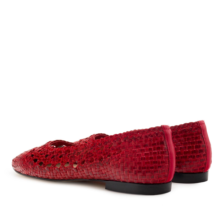 Baletanke od upletene prirodne kože, crvene