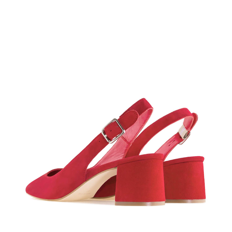 Kožne velur sandale sa otvorenom petom, crvene