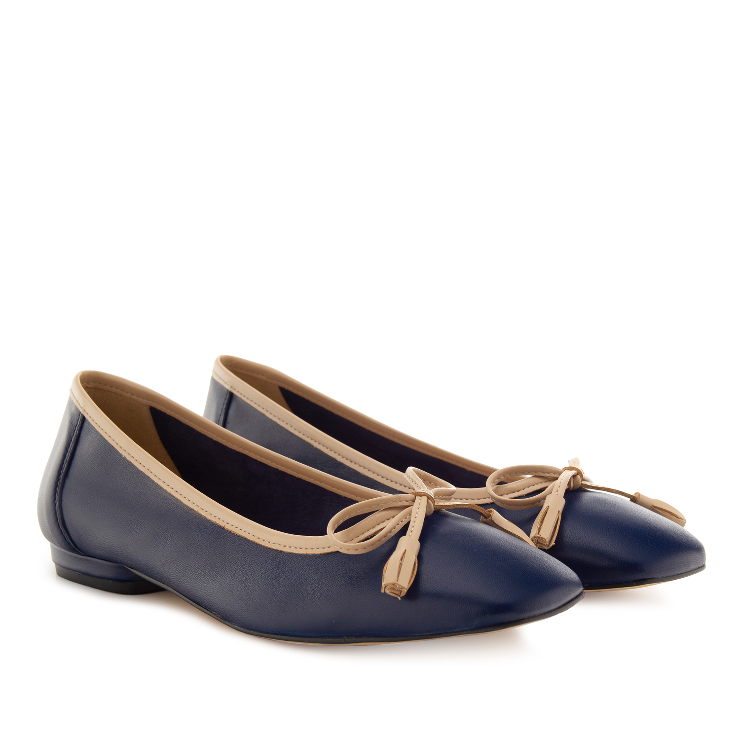 Bow Ballet Flats in Navy Leather
