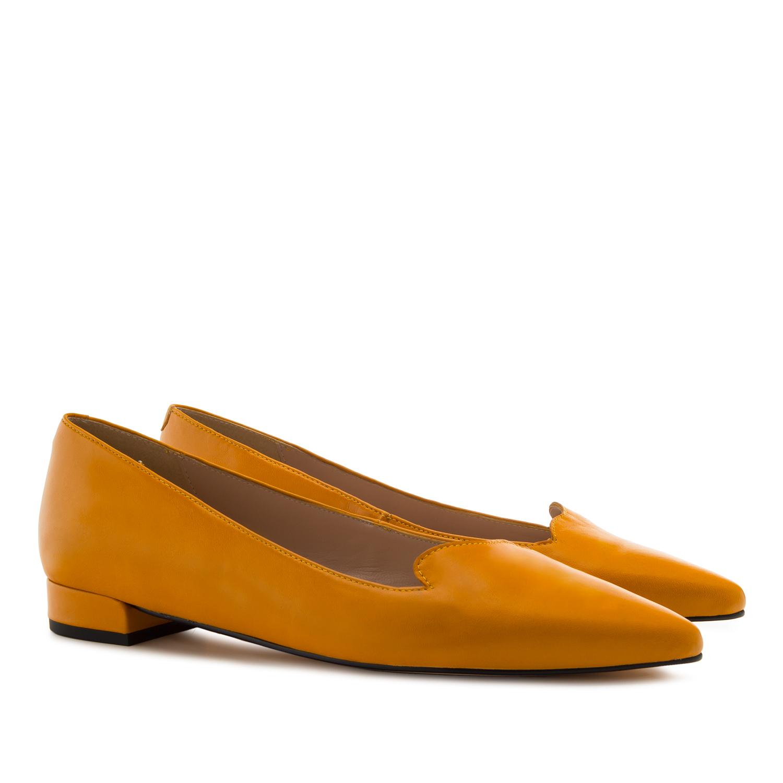 Kožené baleríny, hořčicová žlutá
