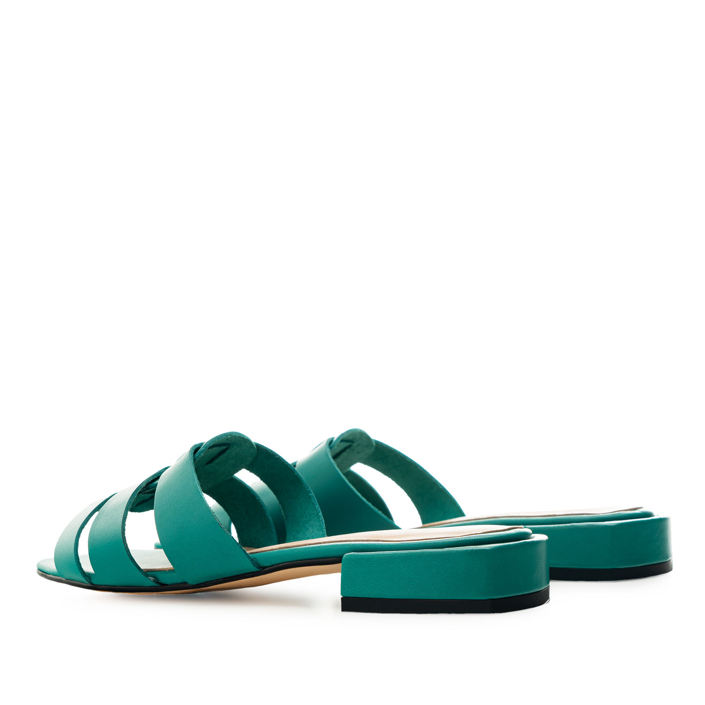 Sandalias en piel de color Turquesa