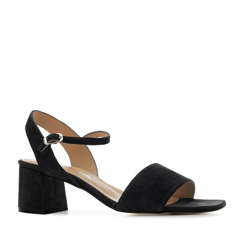 Mustat mokkanahkaiset tolppakorko sandaalit