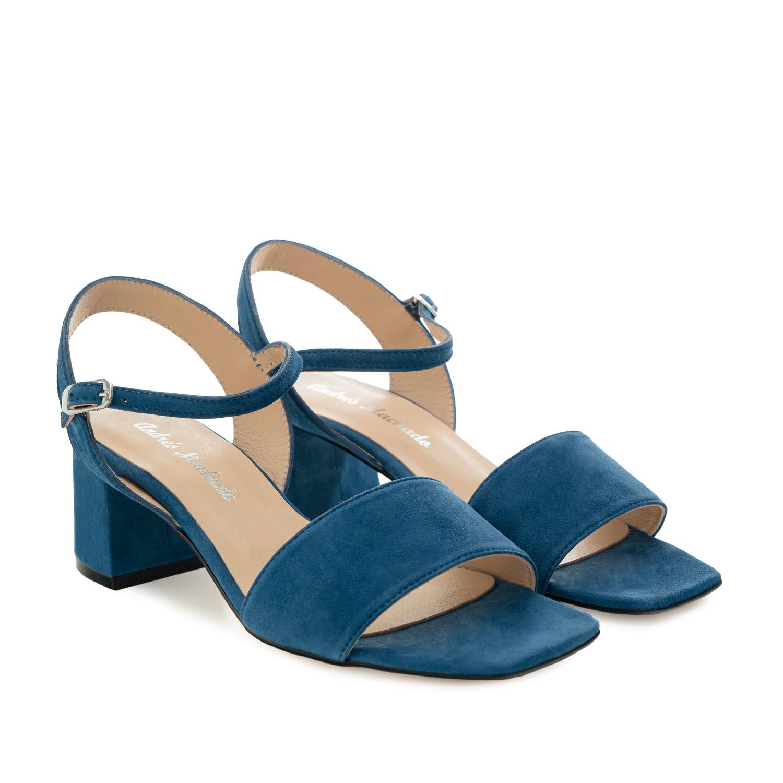 Sandalia Tacón ancho en ante Azul