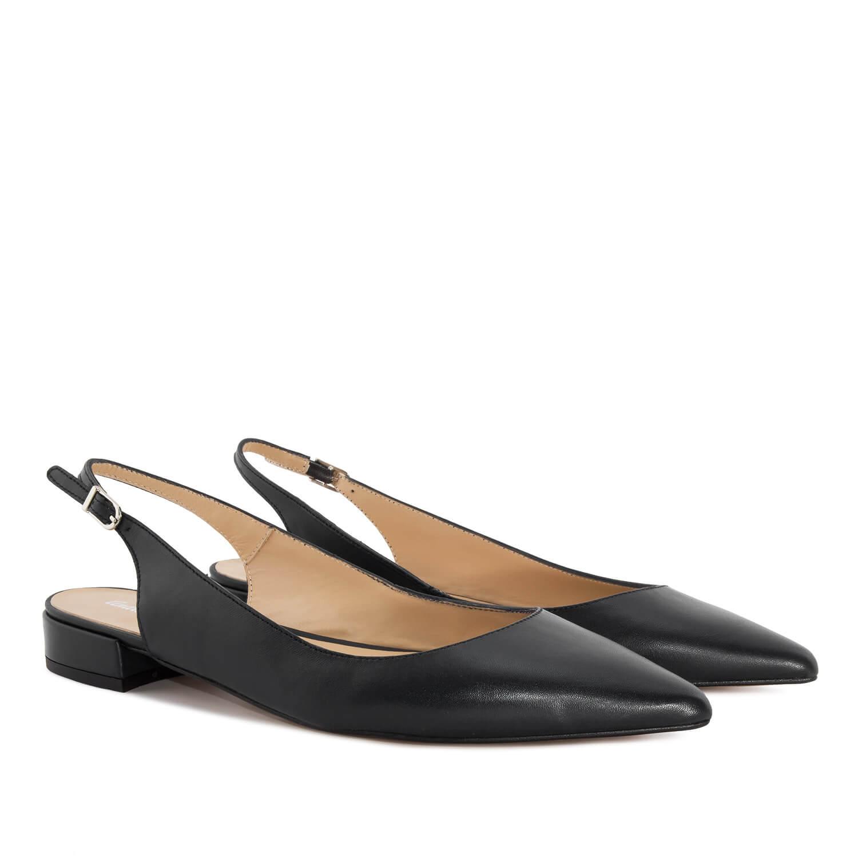 Kožne sandale sa niskom četvrtastom štiklom, crne