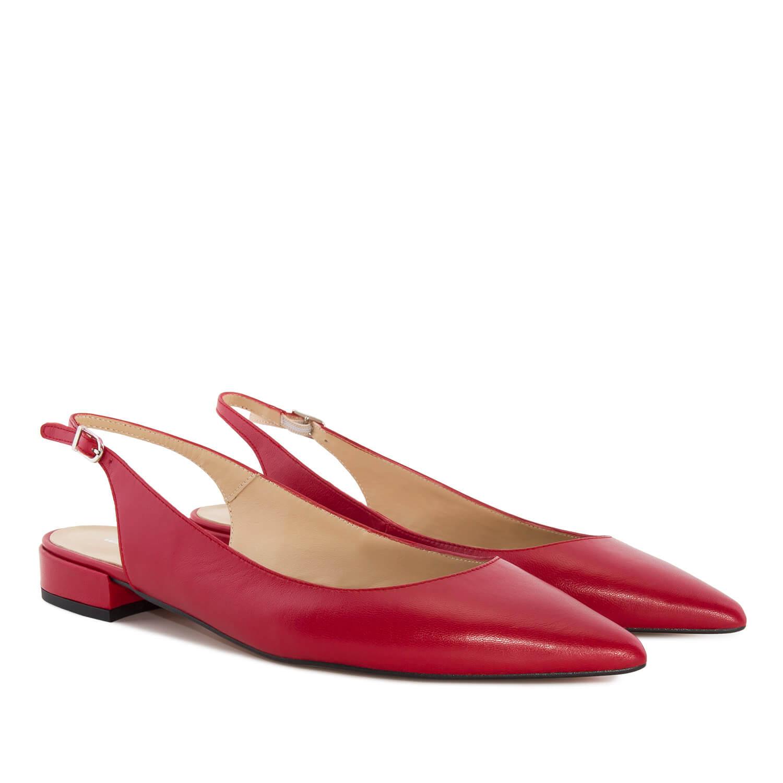 Kožne sandale sa niskom četvrtastom štiklom, crvene