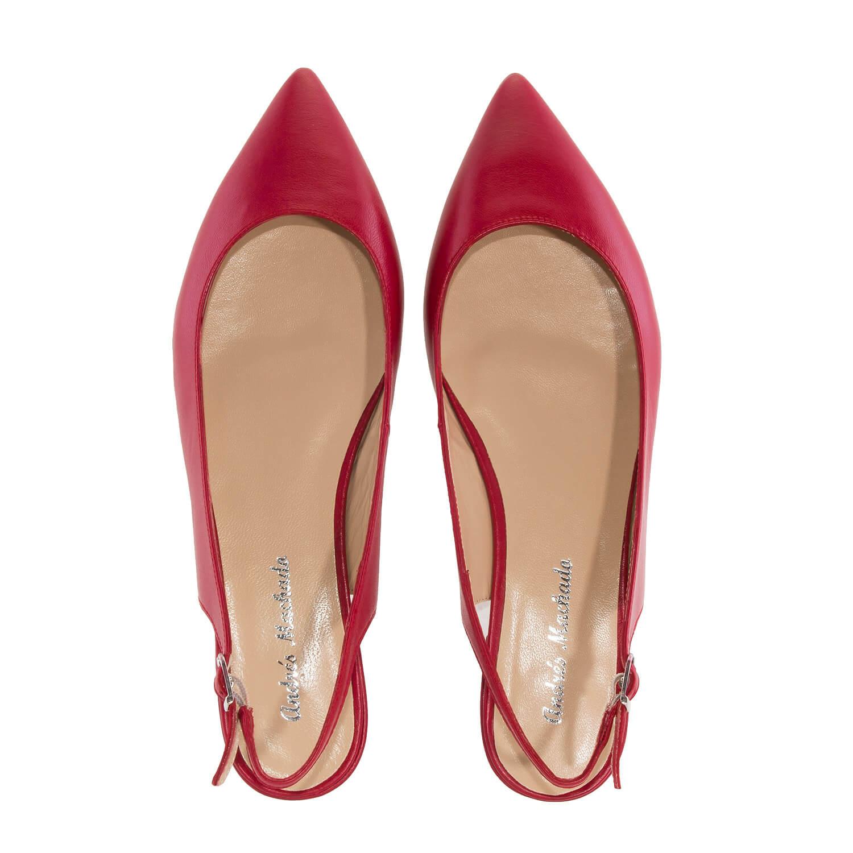 Bailarina Destalonada Punta Fina Piel color Rojo