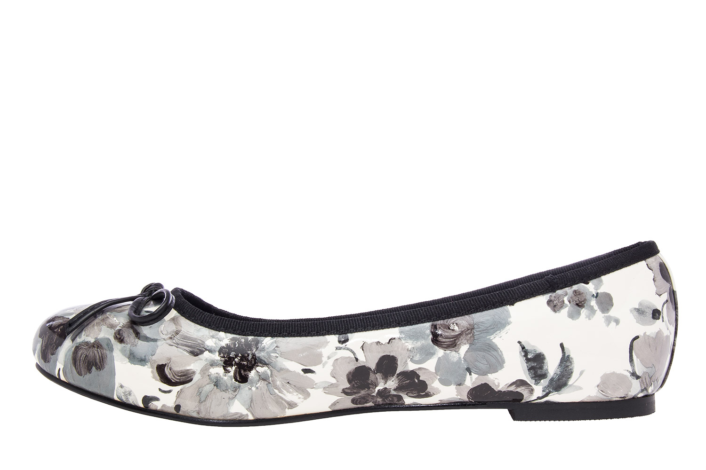 Klasične baletanke sa mašnicom, cvetne crno-bele