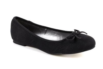 Černé baleríny s mašlí. Koženka pull.