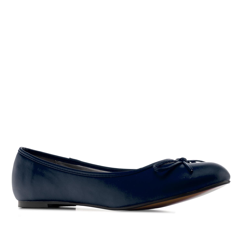 Flat classic ballerina, large sizes, imitation leather in blue navy