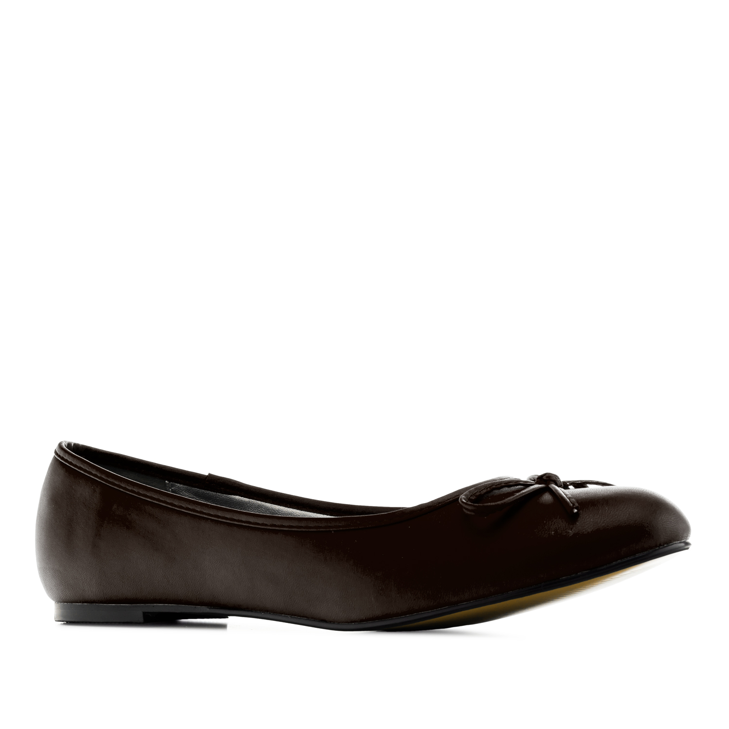 Brown faux-leather Ballerinas with bow.