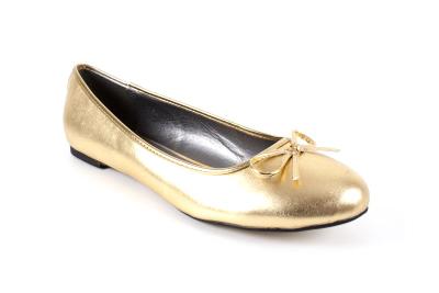 Kultaiset keinonahka ballerina