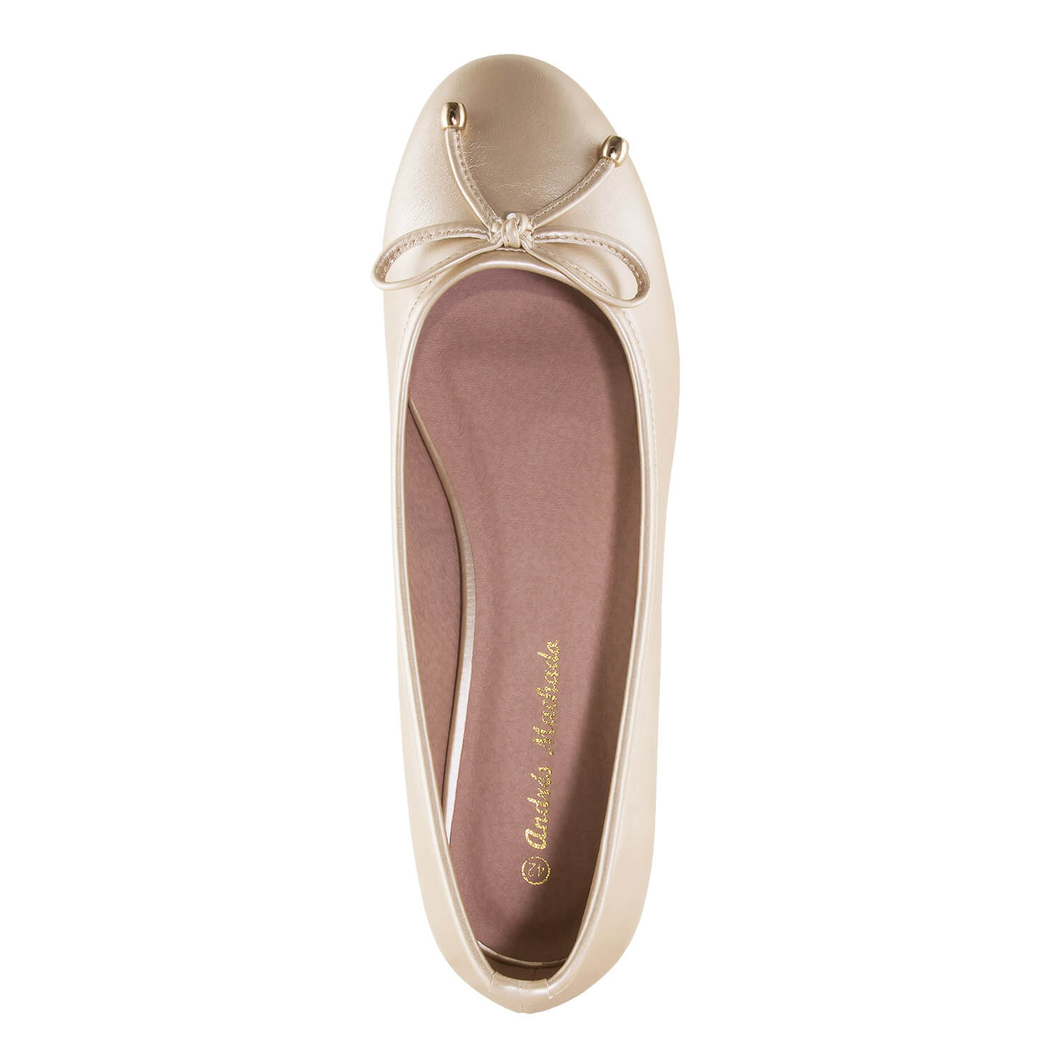 Gold faux Leather Ballet Flats