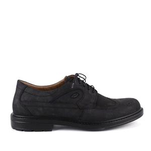 Pánská kožená obuv, styl oxfordky. Černý nubuk.