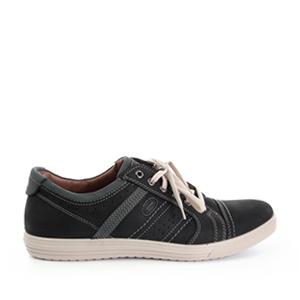 Pánská vycházková obuv, celokožená. Barva tmavě šedomodrá.