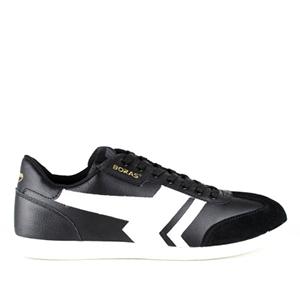 Mustat nahka/mokka sneakerit valkoisilla raidoilla