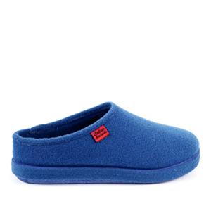 Módní modré bačkory- pantofle. Materiál jemná plsť.