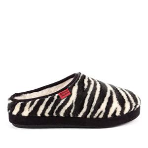 Módní černobílé bačkory- pantofle se vzorem zebra. Materiál hebký plyš.