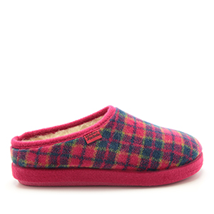 Fuchsia Check Print Alpine Slippers