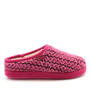 Módní bačkory- pantofle Alpino. Materiál jemná vlna. Růžová a černá.