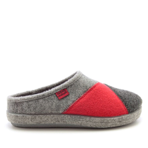 Multicoloured Grey and Red Alpine Slippers