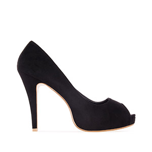 Black Faux Suede Peep Toe Pumps with inner Platform and Stiletto Heel