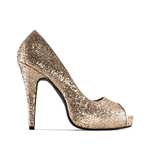 Gold Glitter Peep Toe Pumps with inner Platform and Stiletto Heel