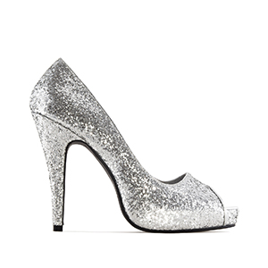 Silver Glitter Peep Toe Pumps with inner Platform and Stiletto Heel