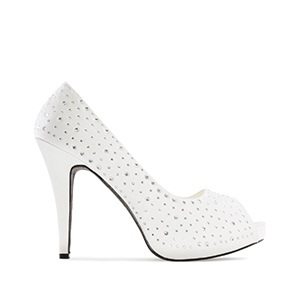 Sophisticated Peep Toe Pumps in White Satin with Strass