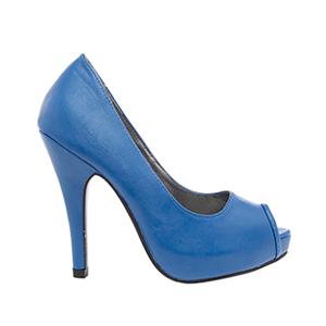 Peeptoe soft azulón con plataforma interior y tacón fino