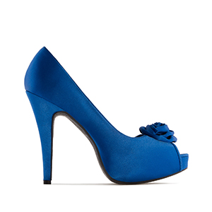 Dress Blue Satin Pumps, inner Platform and 11 cm Stiletto Heel
