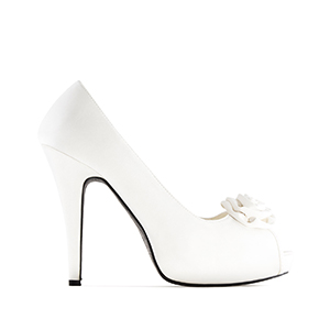 Dress White Satin Pumps with inner Platform and 11cm Heel