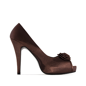 Dress Brown Satin Peep Toe Pumps, inner Platform and 11 cm Heel