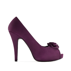 Dress Purple Satin Peep Toe Pumps, inner Platform and 11 cm Heel