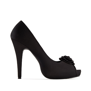 Dress Black Satin Peep Toe Pumps, inner Platform and 11 cm Heel