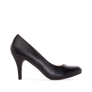 Retro High Heel Pumps in Black faux Leather