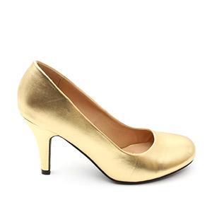 Zlaté lodičky se zaoblenou špičkou, styl retro.