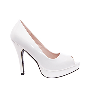 White Patent Peep Toe Platform Pumps