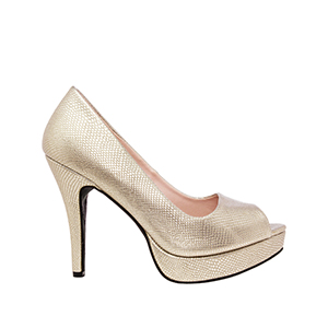 Gold engraved Peep Toe Platform Pumps