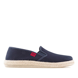 Mythical Navy Blue Canvas Slip-On Shoes with Jute and Rubber Sole