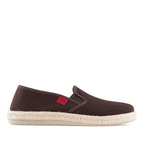 Mythical Brown Canvas Slip-On Shoes with Rubber and Jute Sole