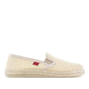 Mythical Beige Mesh Slip-On Shoes with Rubber and Jute Sole
