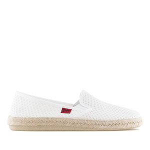 Mythical White Mesh Slip-On Shoes with Rubber and Jute Sole