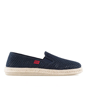 Mythical Navy Blue Mesh Slip-On Shoes with Jute and Rubber Sole