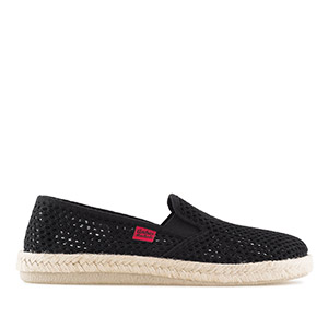 Slip-On Fabric Shoes in Black Mesh with Jute and Rubber Sole