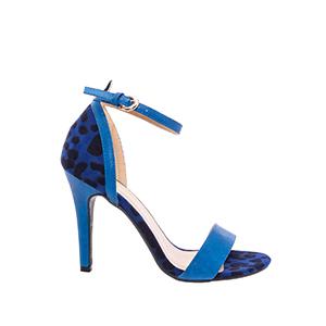 Páskové semišové sandále leopard. Modré.