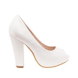 Elegantní lodičky peep toes. Bílé, jemný vzor krokodýlí kůže.