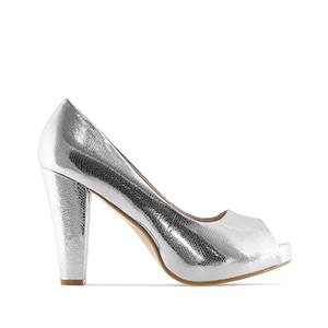 Elegantní lodičky peep toes. Stříbrné, jemný vzor krokodýlí kůže.